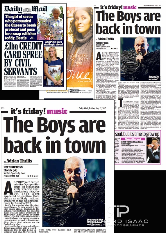 Pet Shop Boys live at The O2 Arena 18 June - pic usage in Daily Mail review of PSB's album 'Electric' on 12 July 2013