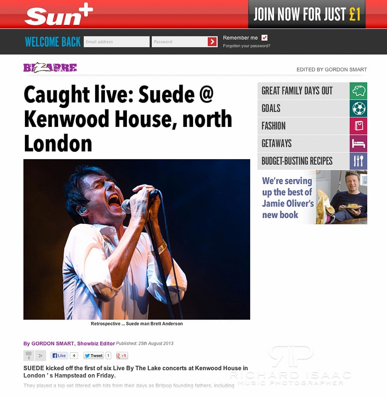 The Sun online 25/8/13 - Suede live at Kenwood House 23/8/13
