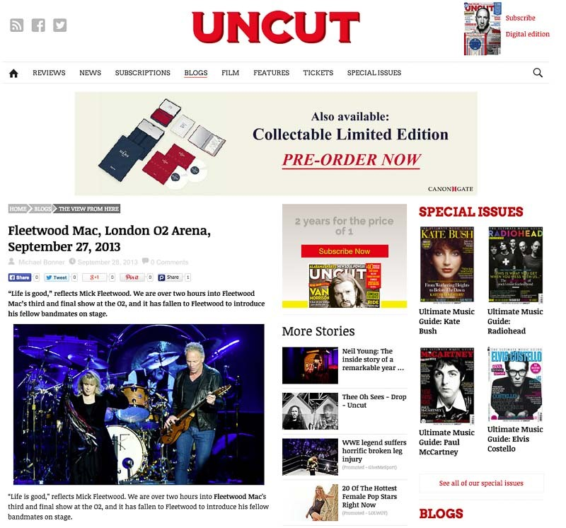 Image Usage Uncut Magazine online - Fleetwood Mac O2 Arena September 2013