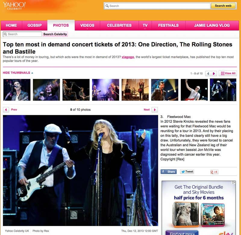 Image Usage Yahoo - Fleetwood Mac O2 Arena September 2013