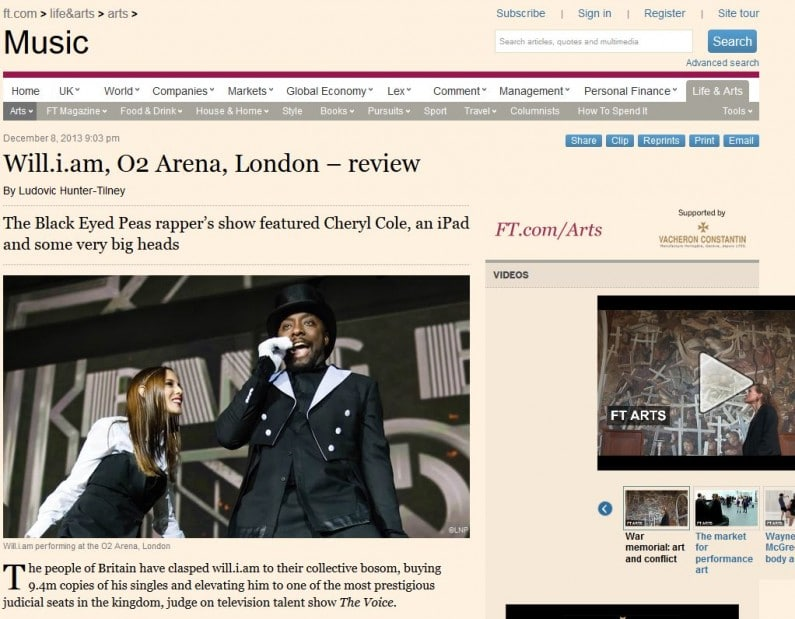 Image usage of Will.i.am live at the O2 Arena 5/12/13 in the FT digital edition 9/12/13