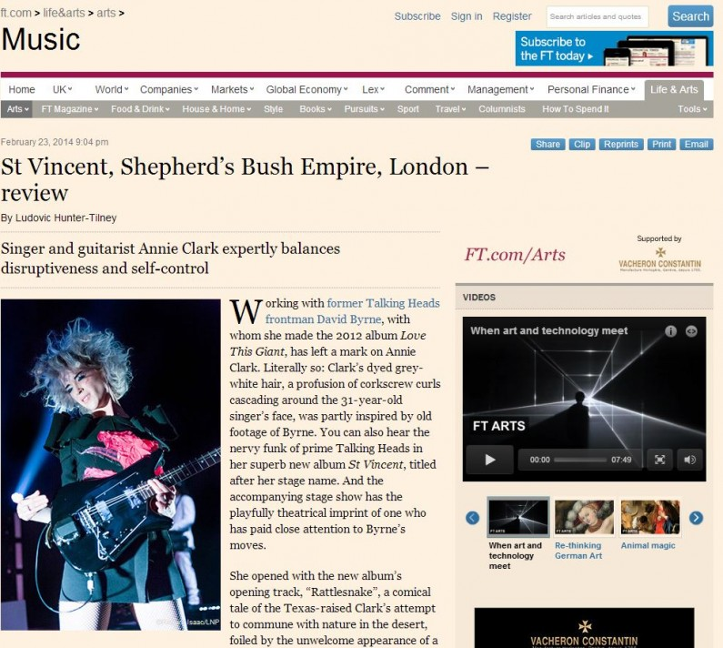 Image usage - Financial Times online edition 23/2/14 - St Vincent live at Shepherds Bush Empire, 20/1/14
