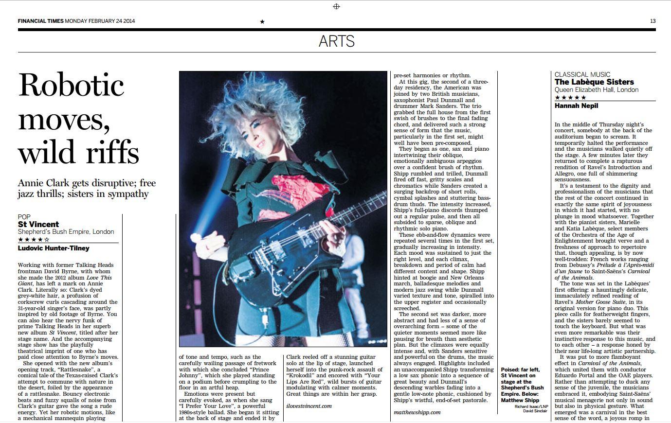 Image usage - Financial Times print edition 24/2/14 - St Vincent live at Shepherds Bush Empire, 20/1/14