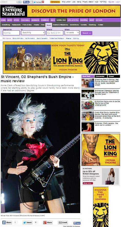 Image usage - Evening Standard online 21/2/14 - St Vincent live at Shepherds Bush Empire, 20/1/14
