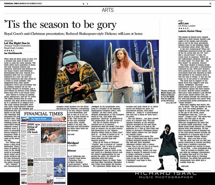 Image usage of Will.i.am live at the O2 Arena 5/12/13 in the FT print edition 9/12/13