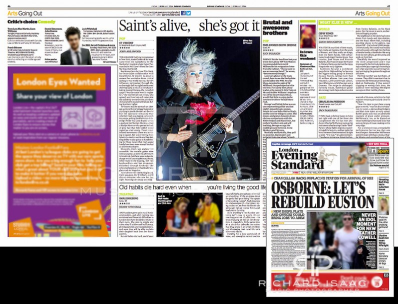 Image usage - Evening Standard print edition 21/2/14 - St Vincent live at Shepherds Bush Empire, 20/1/14