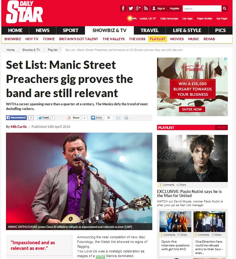 Daily Star online 14/4/14 - image usage for Manic Street Preachers live at Brixton Academy 11/4/14