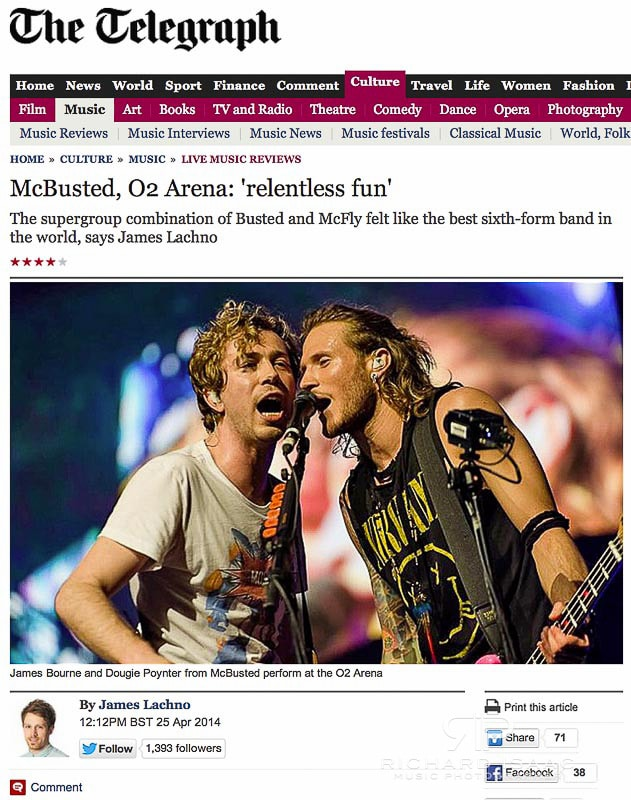 Telegraph online image usage 25/4/14 - McBusted live at The O2 Arena 24/4/14