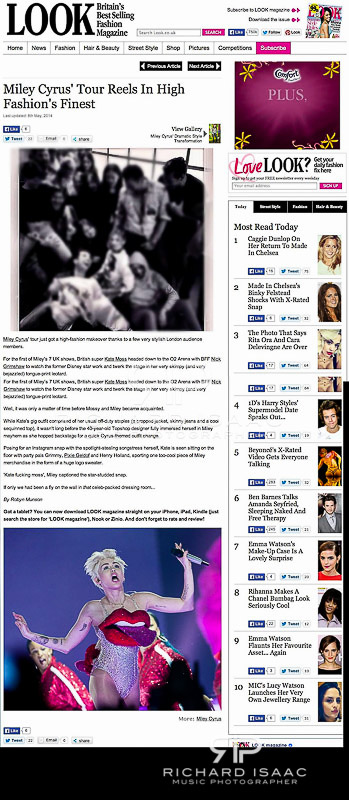 Look Magazine online image usage - Miley Cyrus live at The O2 Arena, 6/5/14