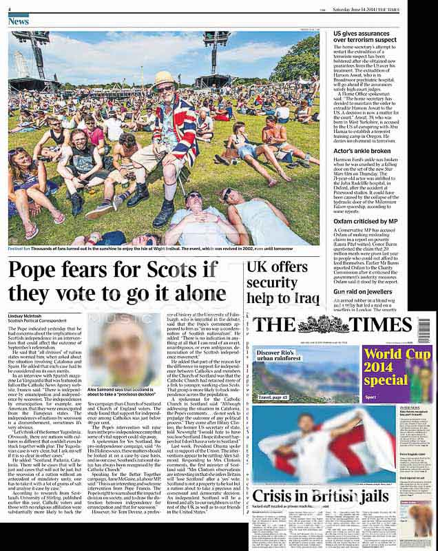Isle of Wight Festival 2014 image usage - The Times 14/6/14 p4