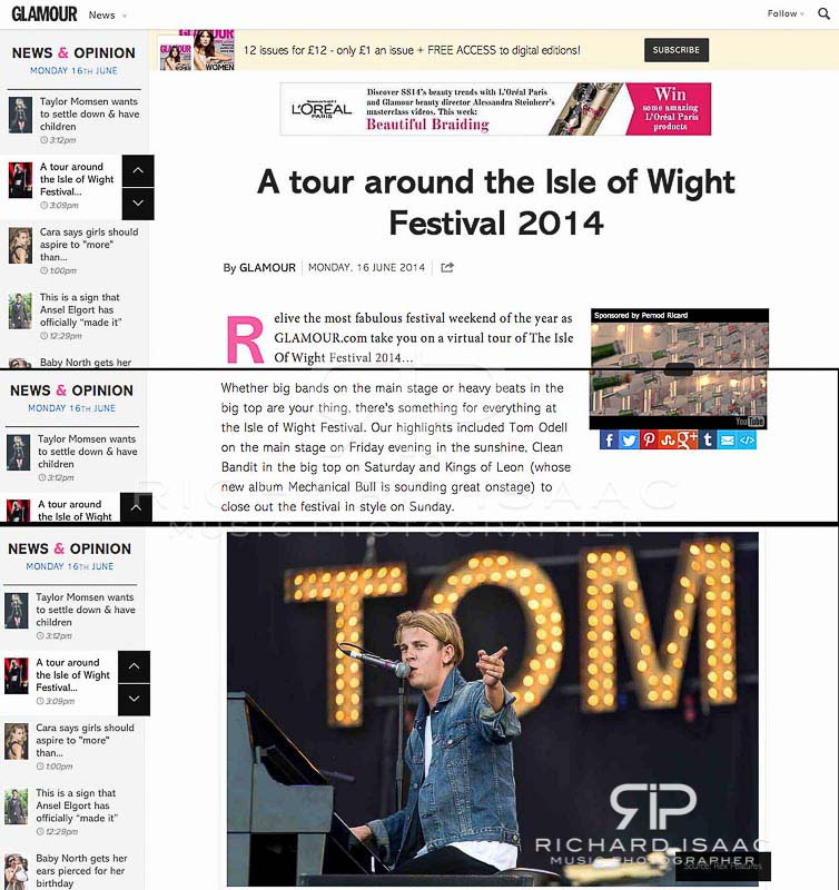 Isle of Wight festival 2014, Tom Odell - Glamour Magazine online image usage