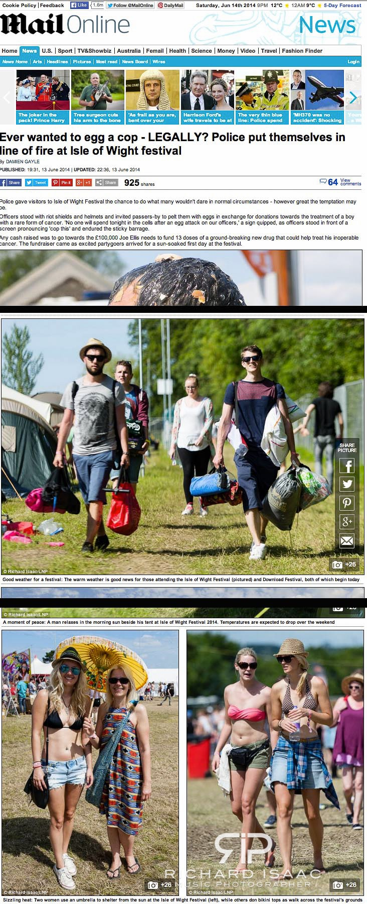 Isle of Wight Festival 2014 – image usage Mailonline 13-14/6/14