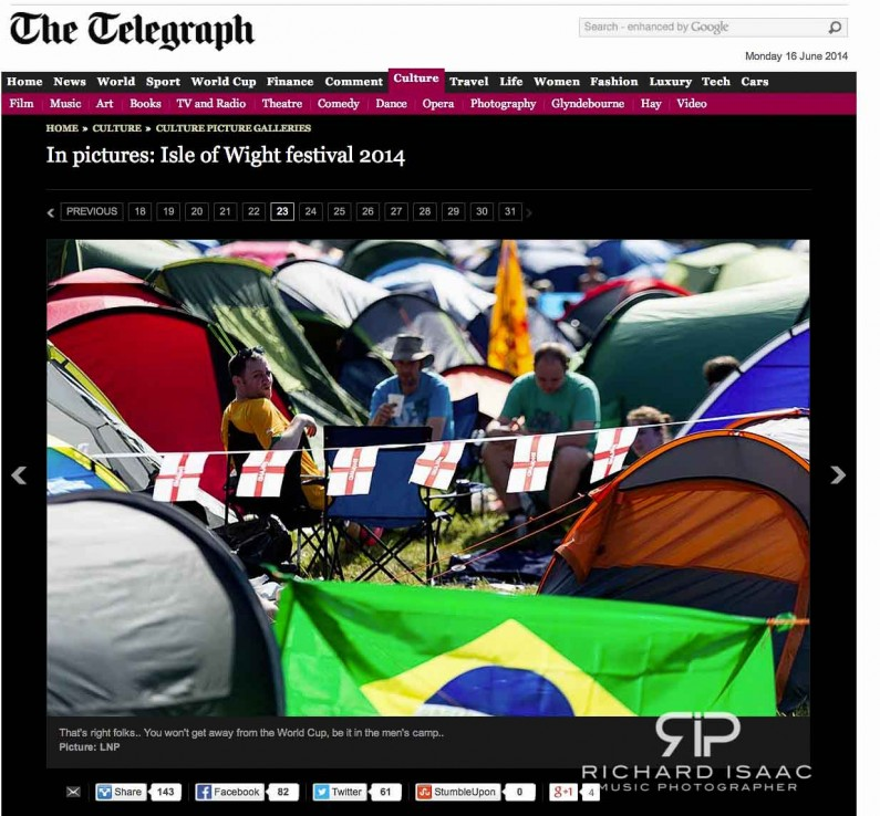 Isle of Wight Festival 2014 - image usage Telegraph online 16/6/14
