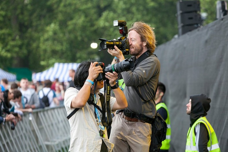 "Me (right) in action at The Libertines' British Summertime Live Hyde Park show, July 2014. ""What do you mean the band's behind me??"". Picture used with the kind permission of John Rahim, thanks John!"