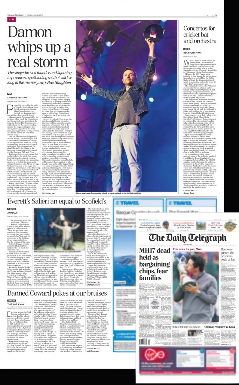 Latitude Festival 2014 Damon Albarn headline performance - image usage Daily Telegraph 21/7/14