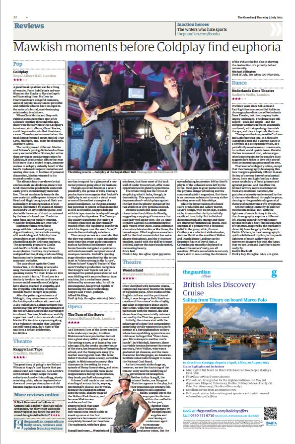 Image usage The Guardian 3/7/14 - Coldplay live at The Royal Albert Hall, 1/7/14