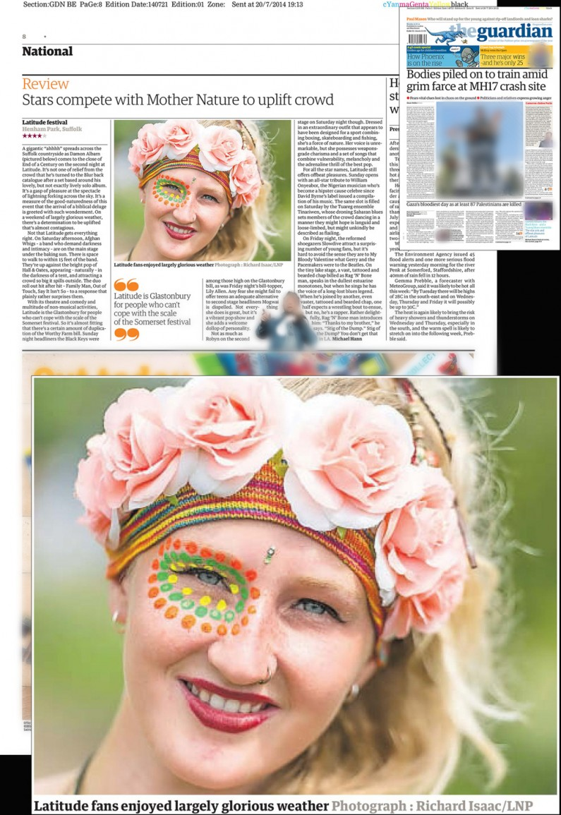 Latitude Festival 2014 atmosphere - image usage The Guardian 21/7/14