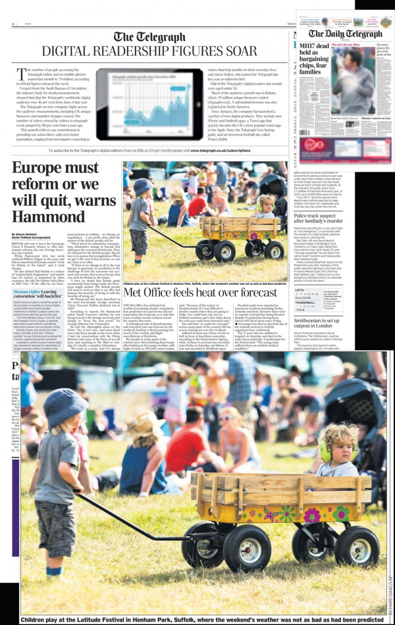Latitude Festival 2014 atmosphere - image usage Daily Telegraph 21/7/14