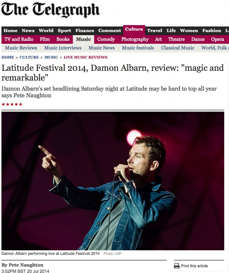 Damon Albarn live at Latitude Festival 2014 - image usage Telegraph online 20/7/14