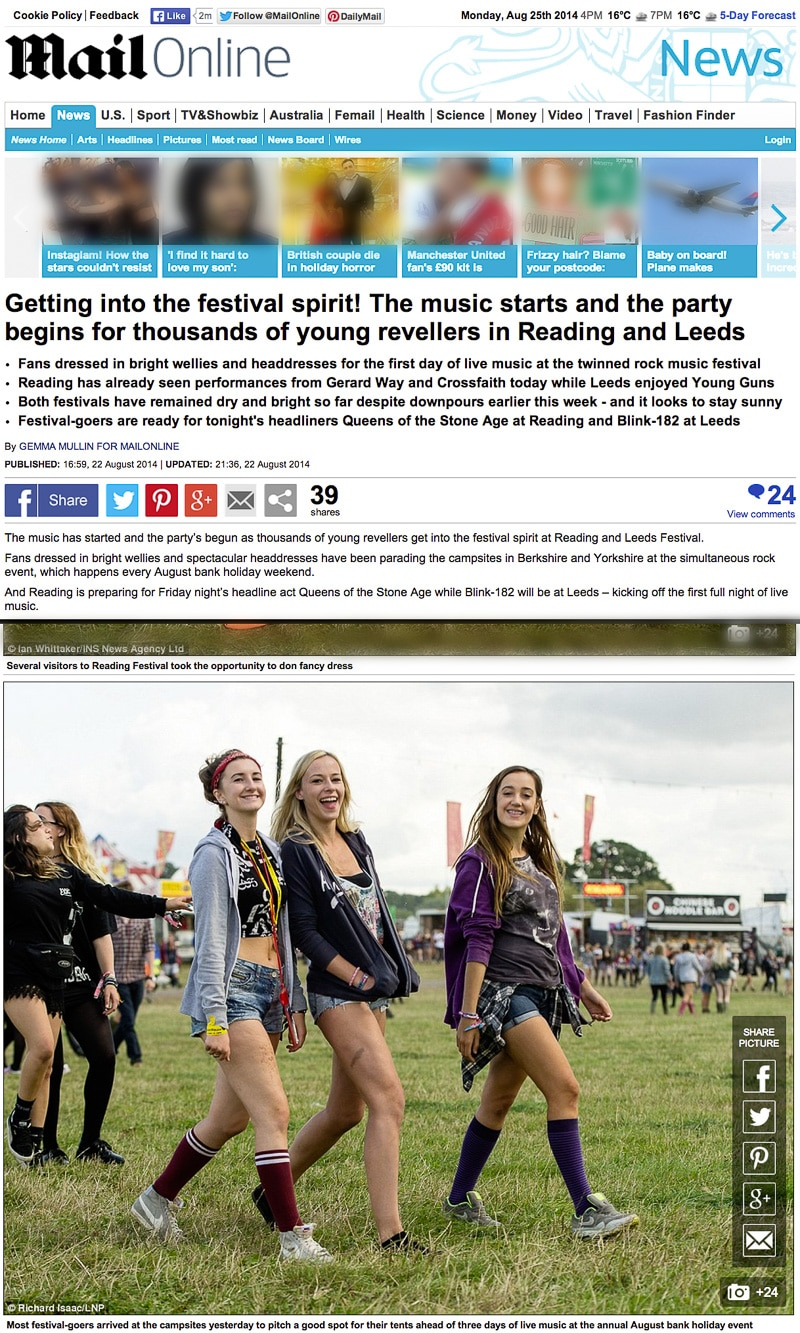Reading Festival 2014 Mailonline usage 22/8/14