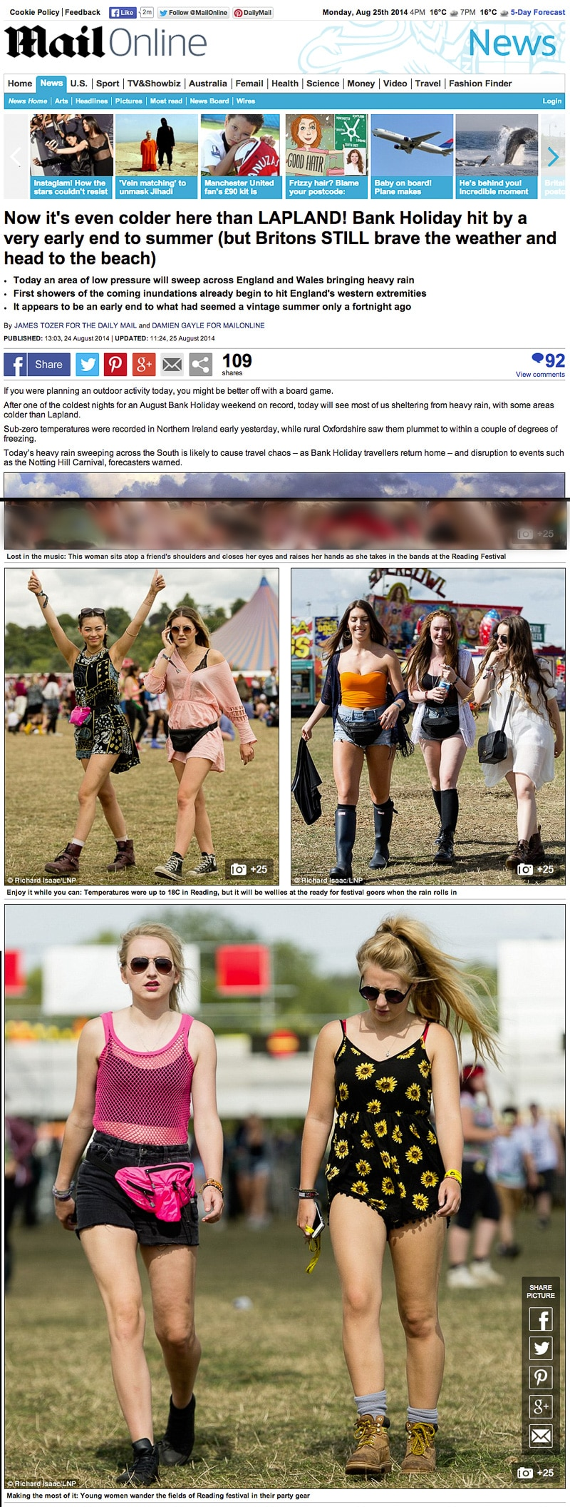 Reading Festival 2014 Mailonline usage 24/8/14