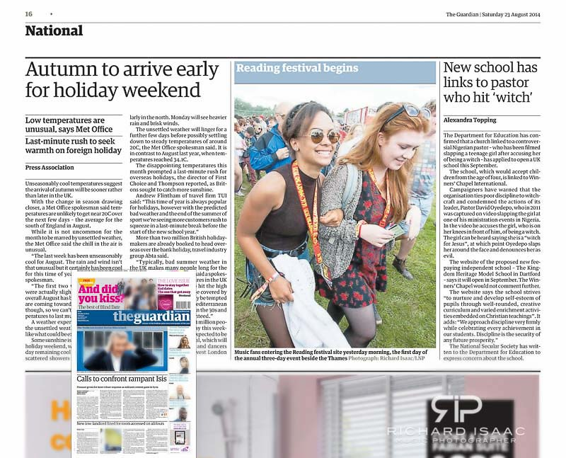 Reading Festival 2014 The Guardian usage 23/8/14