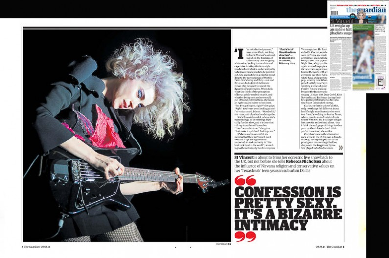 The Guardian 8/8/14 - image usage of St Vincent live at Shepherds Bush Empire 20/2/14