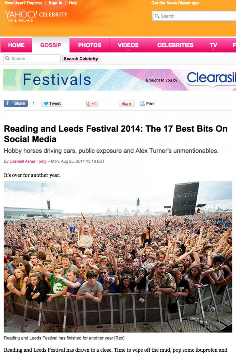 Yahoo online usage - Reading Festival 2014