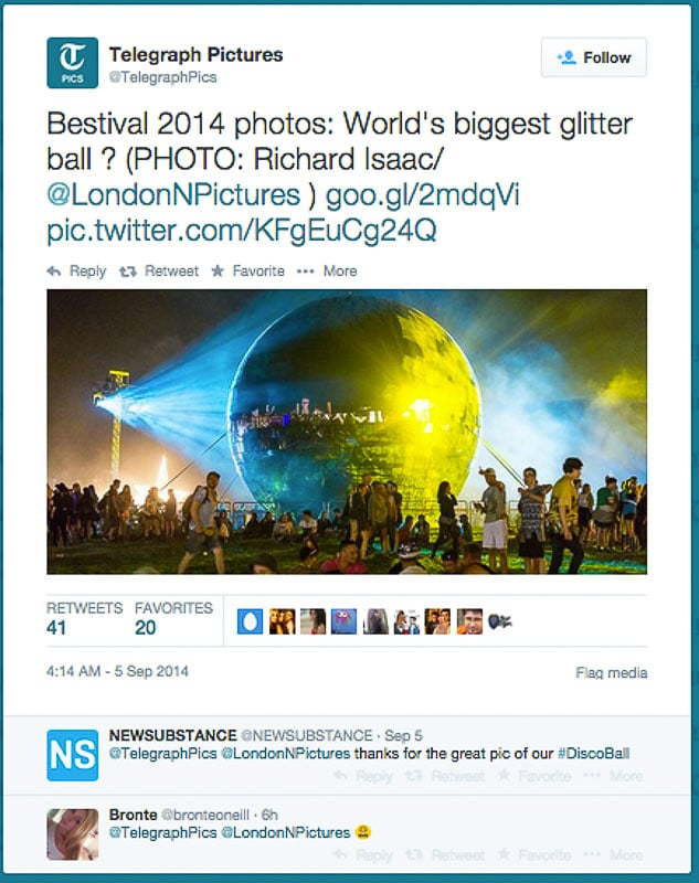 Bestival 2014 image usage - Telegraph online 5/9/14 tweet by Telegraph