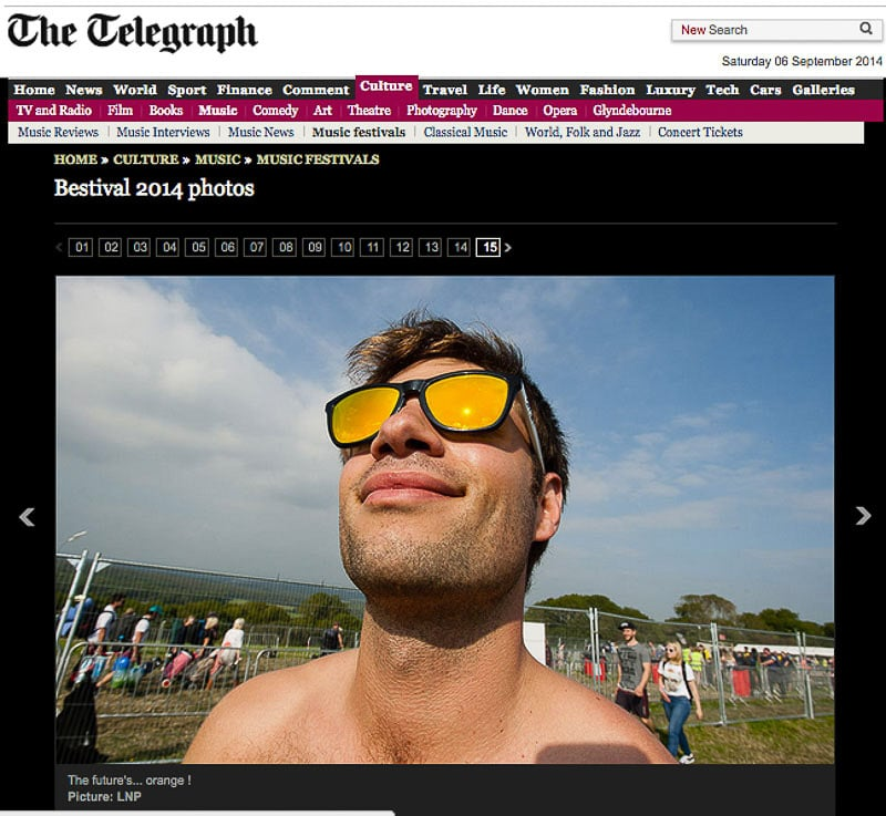 Bestival 2014 image usage - Telegraph online 5/9/14