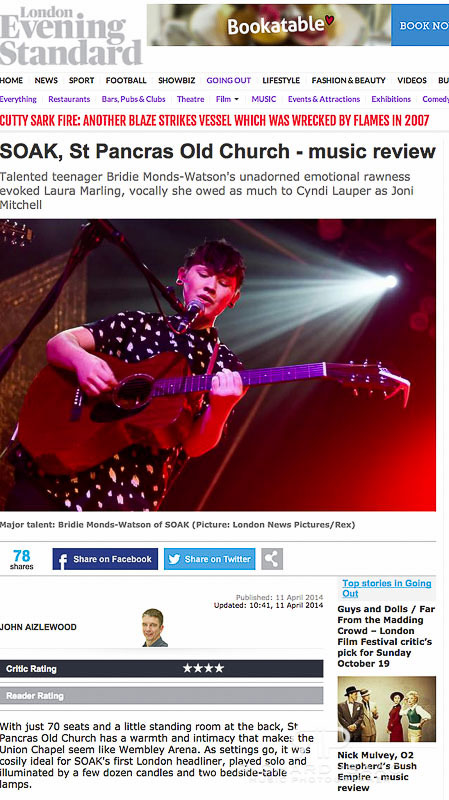 Image usage Evening Standard online - Soak live at St Pancras Old Church 10/4/14 (pic from Scala 17/2/14)