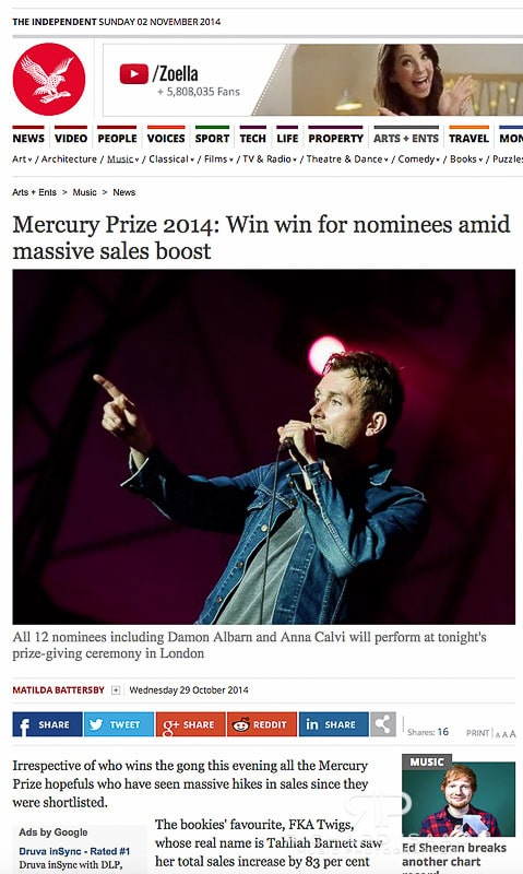 Image usage The Independent online 29/10/14 - Mercury Prize 2014 preview coverage, Damon Albarn performing at Latitude Festival 2014 19/7/14