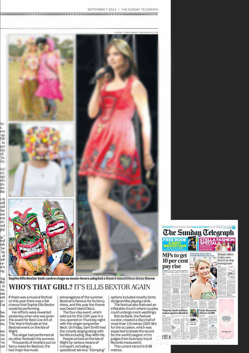 Image usage Sunday Telegraph 7/9/14, Bestival 2014