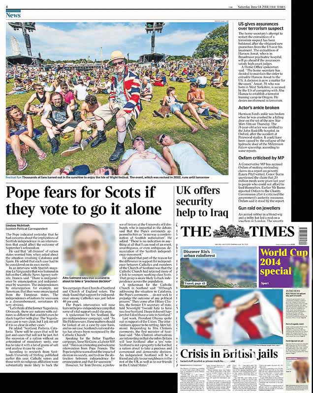 Image usage - The Times 14/6/14 - Isle of Wight Festival 2014 atmosphere