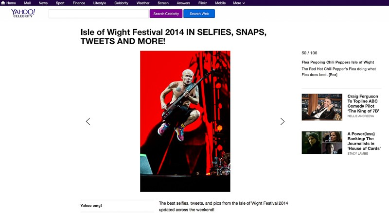 Image usage - Yahoo online - Isle of Wight Festival 2014