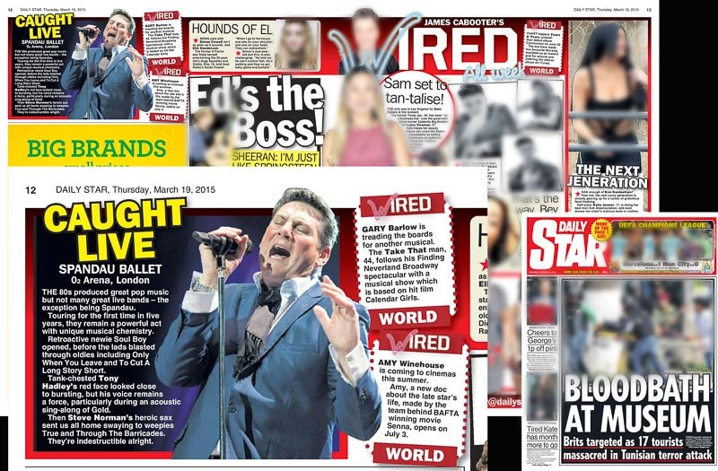 Image usage - Daily Star print 19 March 2015 - Spandau Ballet live at The O2 Arena, 17 March 2015