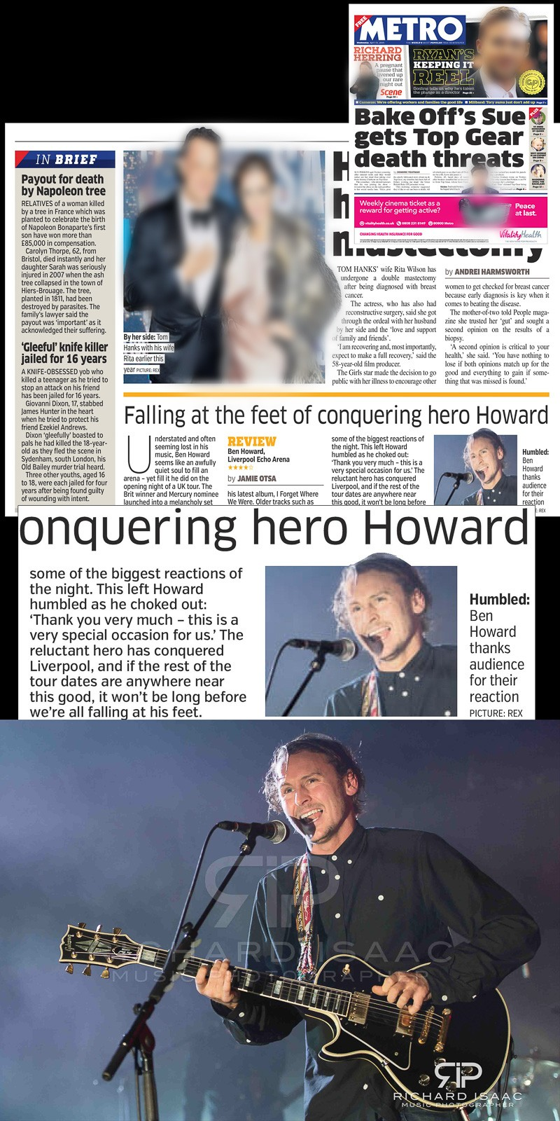 Image usage - Metro 15 April 2015 - Ben Howard live at Brixton Academy December 2015, used in editorial for Ben Howard live at Liverpool Echo Arena April 2015