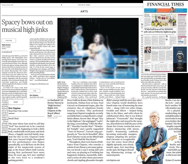 Image usage - Financial Times 18 May 2015 - Eric Clapton live at the Royal Albert Hall 14 May 2015