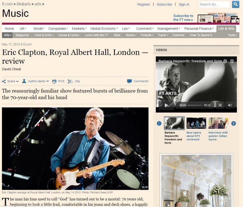 Image Usage - Financial Times online 17 May 2015, Eric Clapton at the Royal Albert Hall 14 May 2015