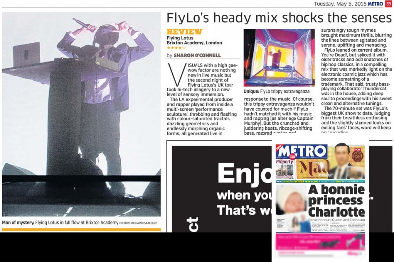 Image usage print Metro 5 May 2015 - Flying Lotus at Brixton Academy 1 May 2015