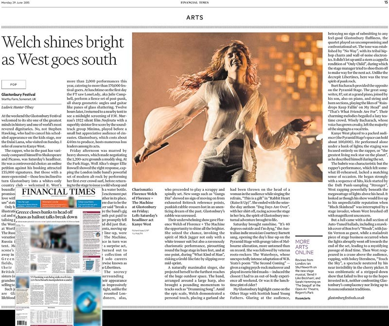 Image Usage print Financial Times - 29 June 2015 - Glastonbury Festival 2015, Florence and the Machine