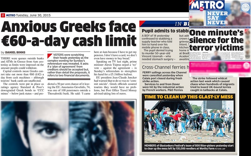 Image Usage print Metro 30 June 2015 - Glastonbury Festival 2015
