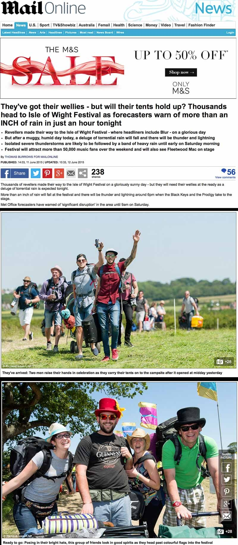 Image usage - Mailonline 11 June 2015 - Isle of Wight Festival 2015
