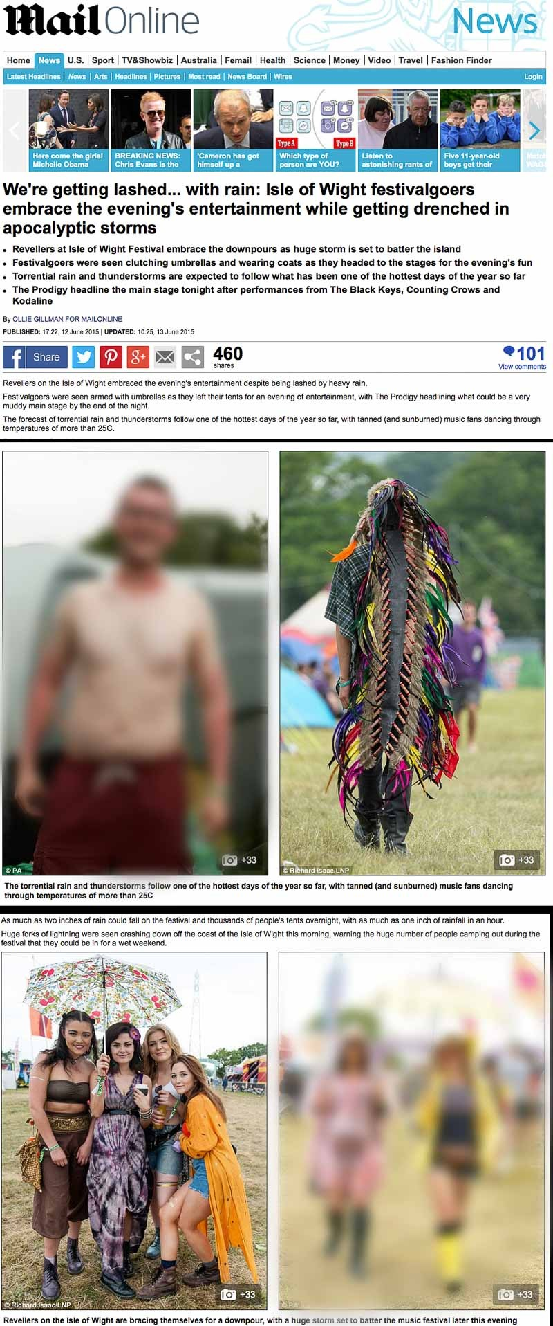 Image usage - Mailonline 12 June 2015 - Isle of Wight Festival 2015