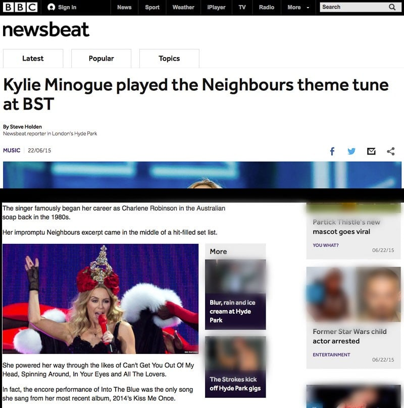 Image usage - BBC Online 22 June 2015 - Kylie Minogue concert Hyde Park 21 June 2015