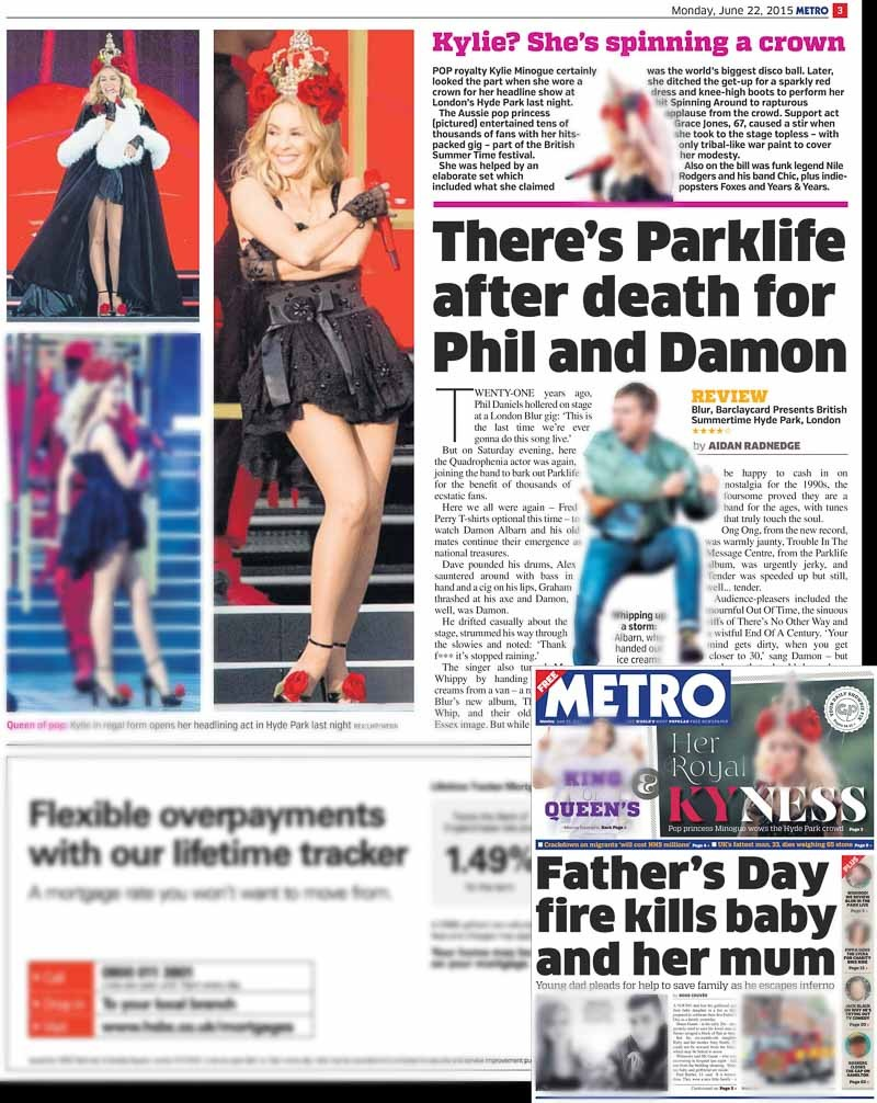 Image usage - Metro print 22 June 2015 - Kylie Minogue concert Hyde Park 21 June 2015