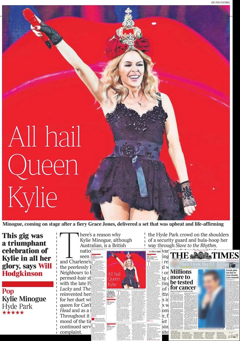 Image usage - the Times print 23 June 2015 - Kylie Minogue concert Hyde Park 21 June 2015