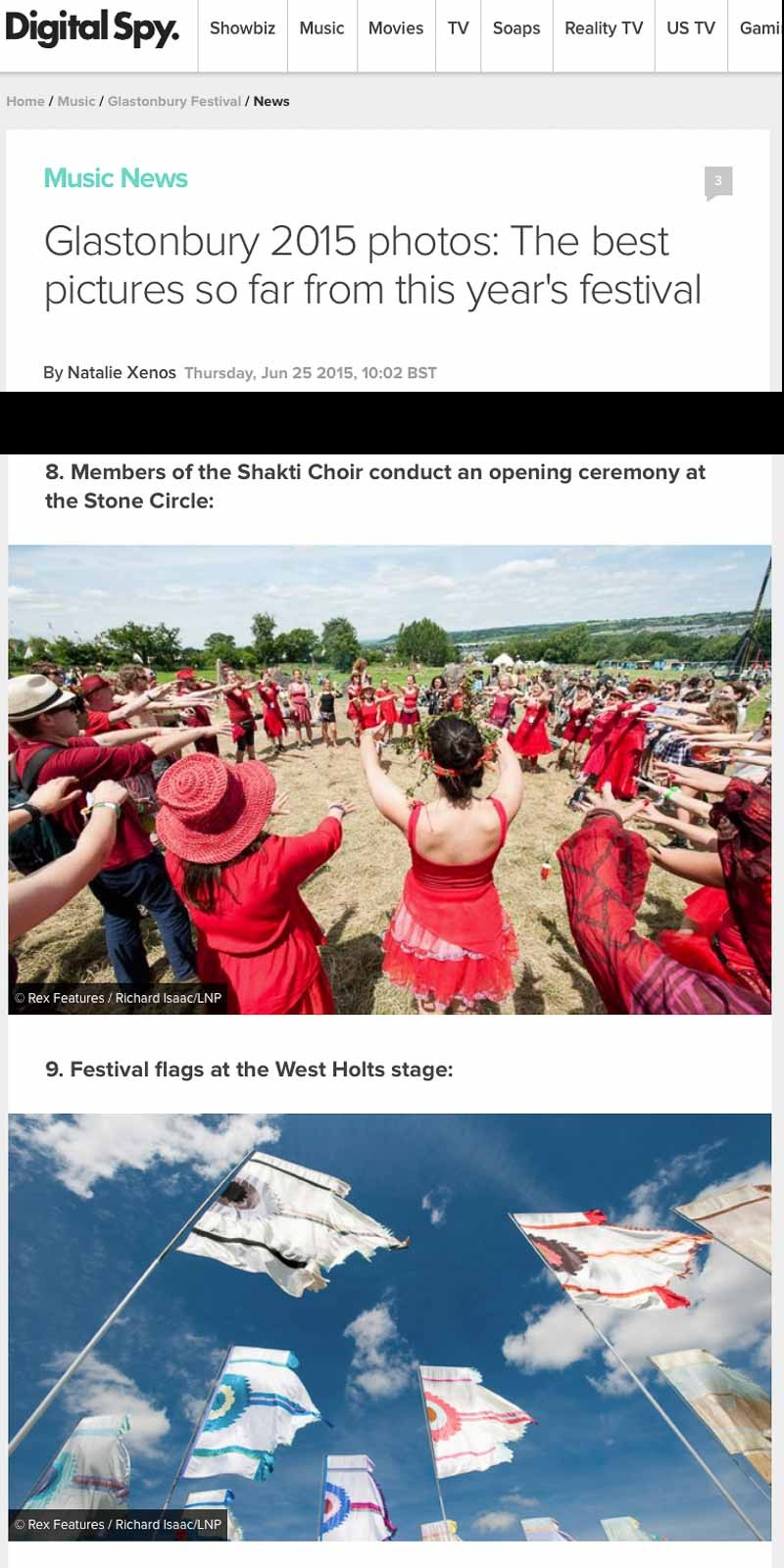Image usage - DigitalSpy online 25 June 2015 - Glastonbury Festival 2015