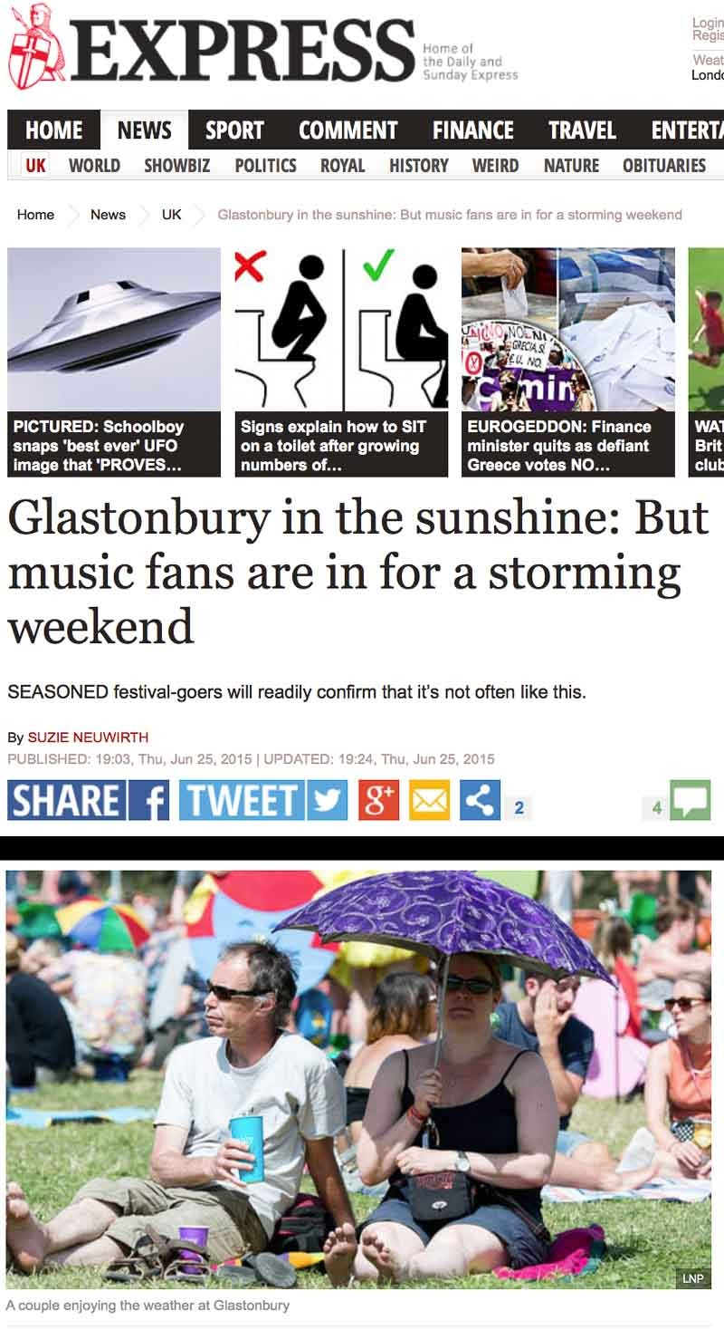 Image usage - Express online 25 June 2015 - Glastonbury Festival 2015