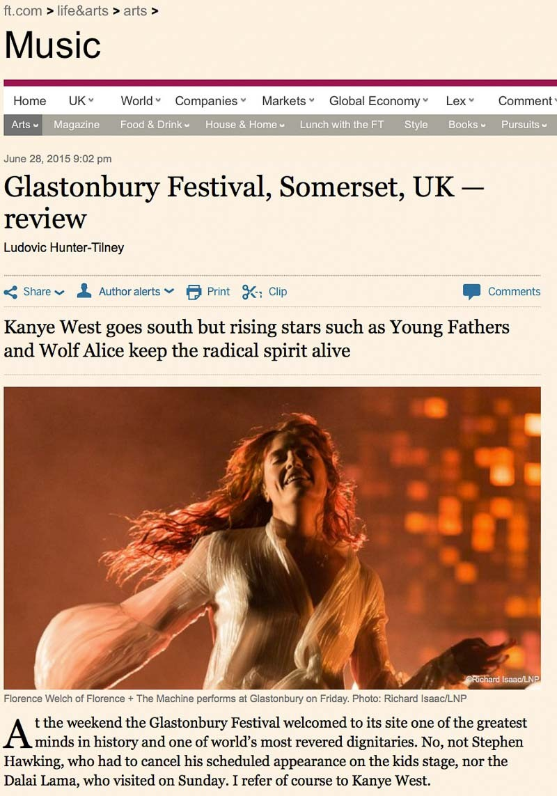 Image usage - Financial Times online 28 June 2015 - Glastonbury Festival 2015 Florence and the Machine